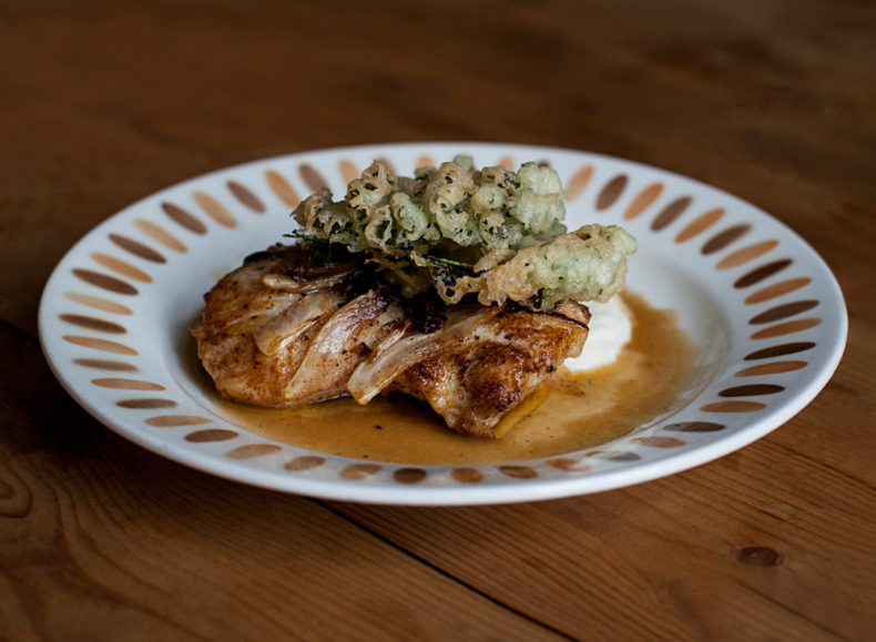 Fried Wolf Fish with Tempura Kale, Cauliflower Puree & Mulled Wine Sauce