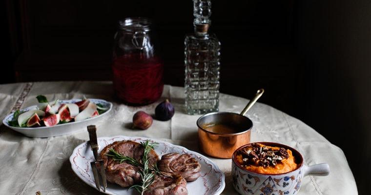 Lamb Leg Steak with Sweet Potato Mash & Fig Salad