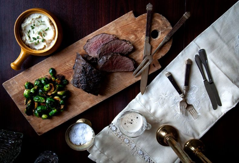 Roast Beef with Honey-Glazed Brussel Sprouts & Root Vegetable Purée