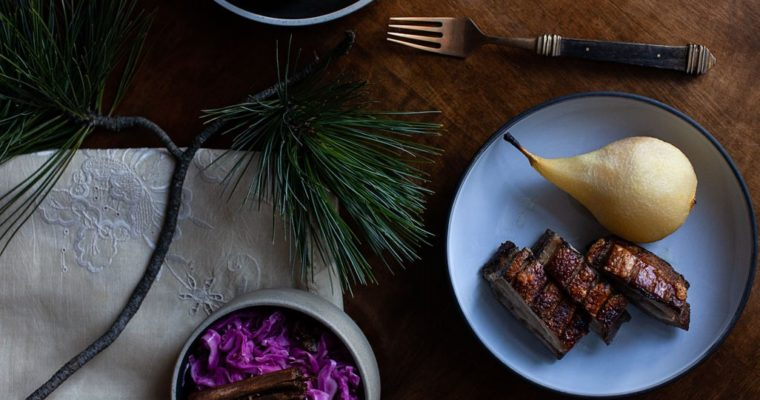 Pork Belly with Cider Poached Pear and Spiced Red Cabbage
