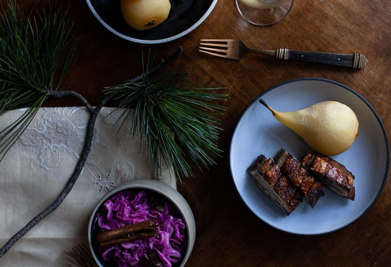 Pork belly cider poched pear spiced cabbage
