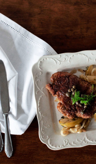 Pork Butt Schnitzel With Apple and Fennel