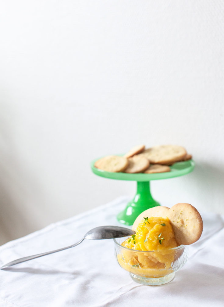 Mango Sorbet with Lemon and Thyme Shortcrust Pastry Biscuits
