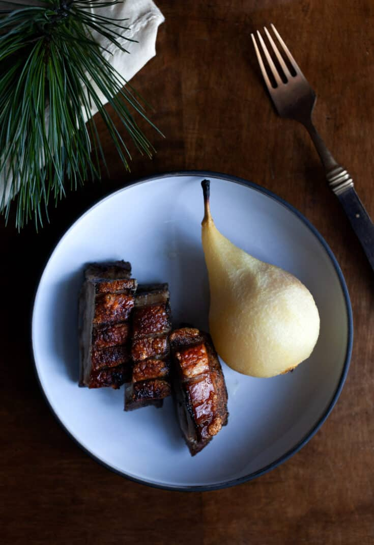 Pork Belly with Cider Poached Pear Recipe