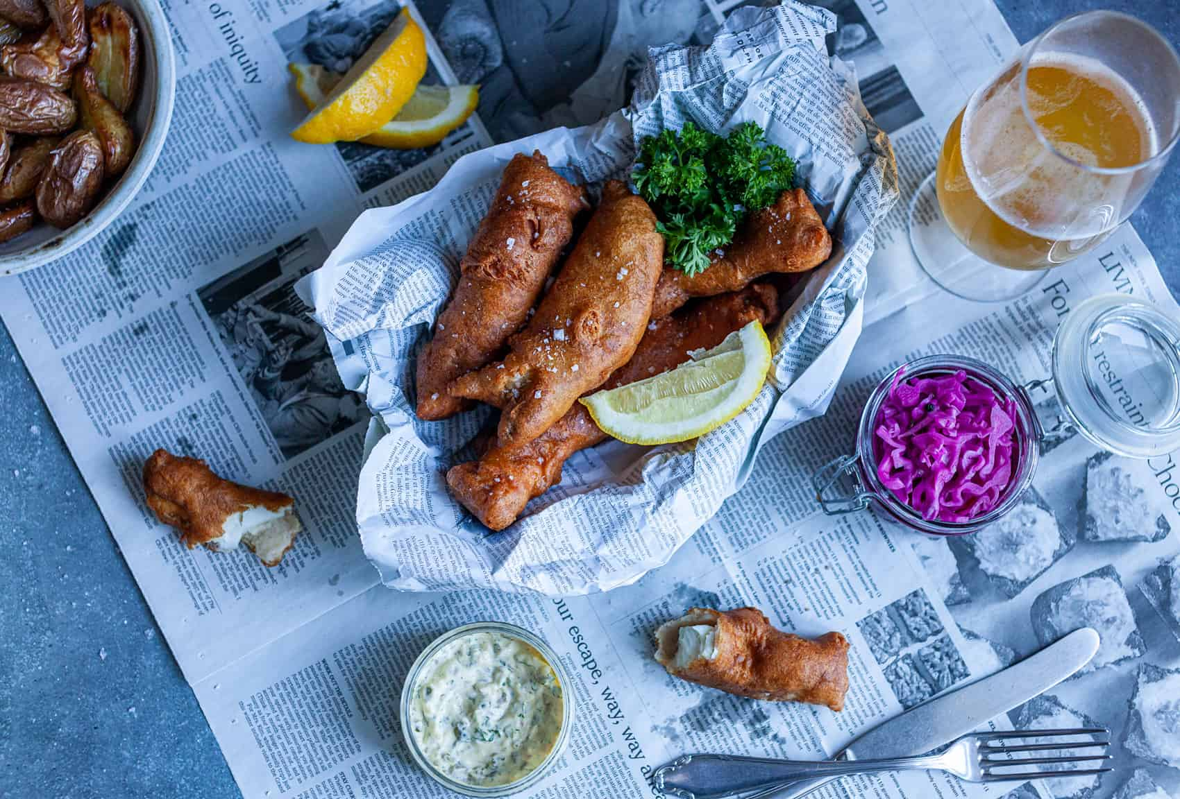 Feature image of beer-battered halibut and sides