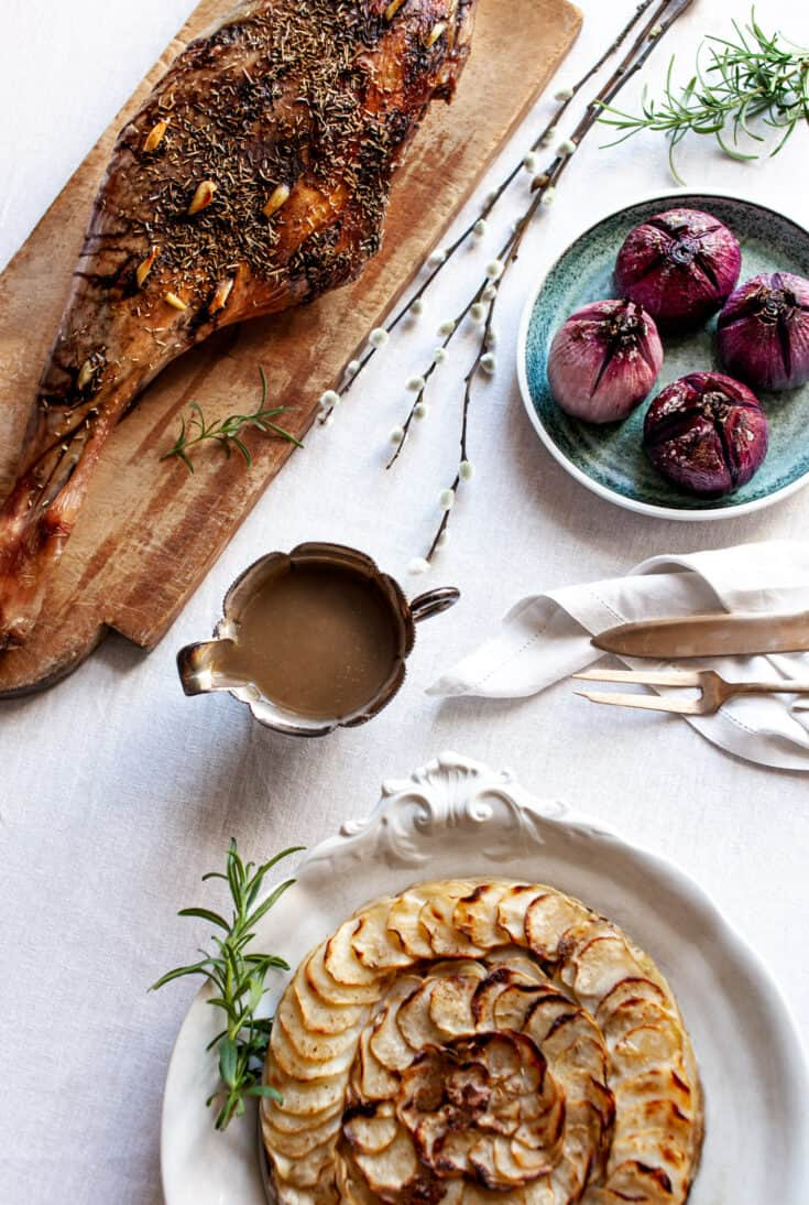 Norwegian Style Slow Roasted Leg of Lamb And Pommes Anna